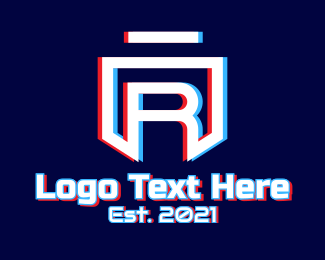 App - Static Motion Letter R Shield logo design