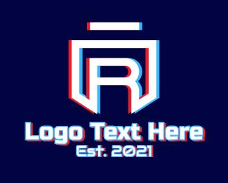 Twitch - Static Motion Letter R Shield logo design