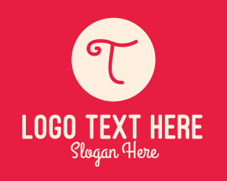 Letter T - Pink Handwritten Letter T logo design