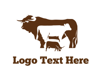 Butcher - Bull Cow Farm logo design