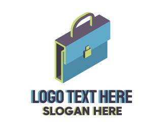 Working - 3D Briefcase Bag logo design