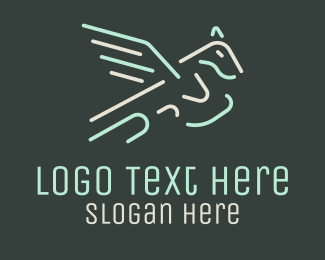 Mythical - Neon Flying Pegasus logo design