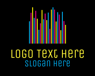Printer - Colorful Neon Bars logo design