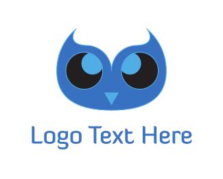 Nursery - Cute Blue Owl logo design
