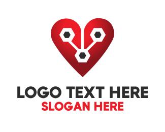 Biotech - Tech Heart logo design