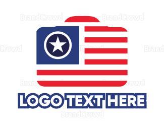 American Flag - Camera USA logo design