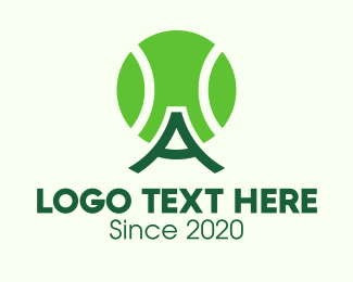 Olympic Games - Green Tennis Ball Letter A logo design