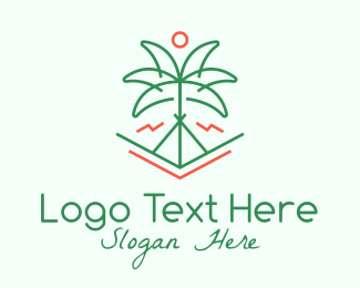 Summer Camp - Palm Tree Camping logo design