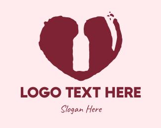 Red Bottle - Rustic Wine Lover logo design