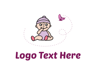 Pink Butterfly - Purple Baby logo design