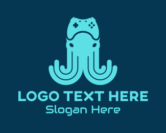 Video Game Controller - Blue Kraken Video Gaming logo design