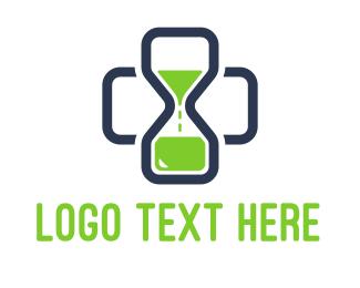Biotech - Medical Cross Time Hourglass logo design