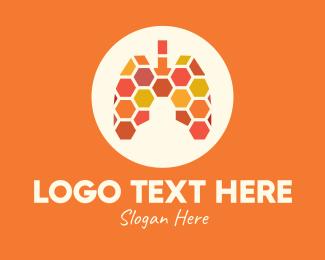 Oxygen - Honeycomb Respiratory Lungs logo design