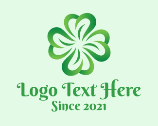 Saint Patrick - Green Four Leaf Clover logo design