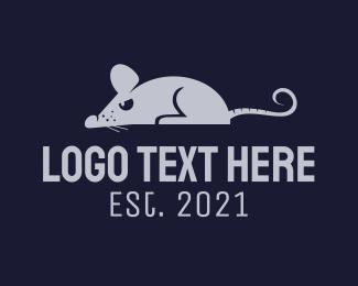Exterminator - Gray Angry Rat logo design