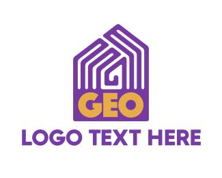 Geography - Violet Geo Pattern House logo design