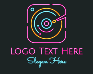 Pop - DJ Neon Turntable logo design