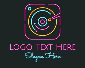 Electronic - DJ Neon Turntable logo design