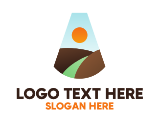 Scenic - Mountain Landscape Letter A logo design