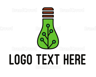 Led - Green Eco Bulb logo design