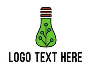 Electrician - Green Eco Bulb logo design