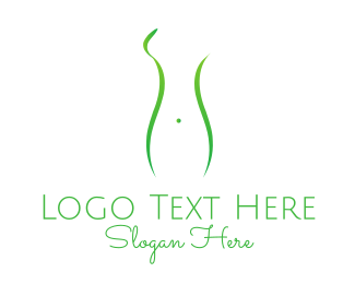 Massage - Woman Green Silhouette logo design
