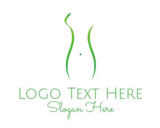 Hospital - Woman Green Silhouette logo design