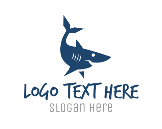Aqua - Blue Shark logo design