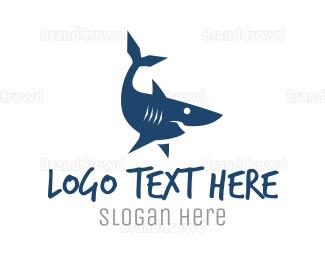 Aqua - Blue Shark logo design