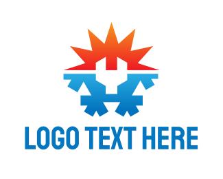 Snowflake - Temperature Wrench logo design
