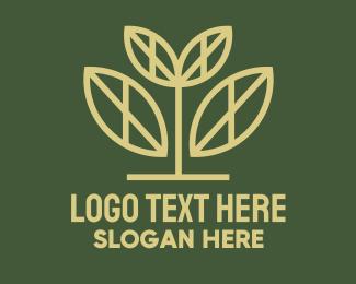 Prosperity - Gold Leaf Tree logo design