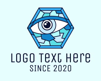 Eye Drops - Blue Stained Glass Eye logo design