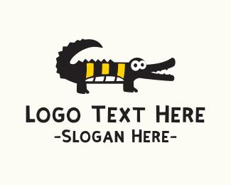 Alligator - Cute Black Crocodile  logo design