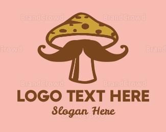 Moustache - Mushroom Moustache logo design