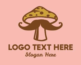 Mushroom - Hipster Mushroom Moustache logo design