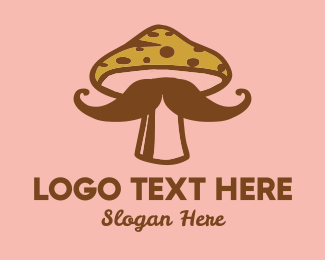 Weed - Mushroom Moustache logo design