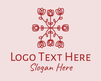 Pattern - Red Rose Pattern logo design