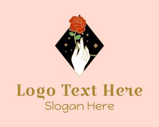 Wedding Service - Red Rose Stalk logo design