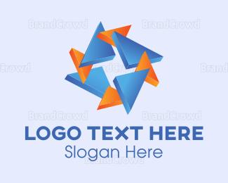 3d - Triangle Star logo design
