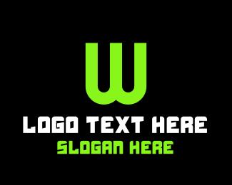 Uppercase - Green Tech Letter W logo design