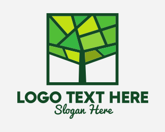 Roots - Mosaic Green Tree logo design