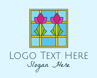 Party Needs - Flower Stained Glass logo design