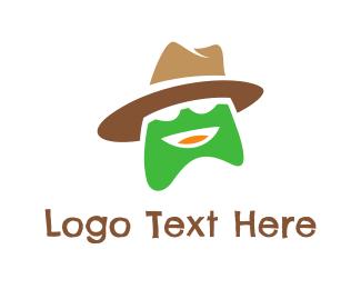 Fedora - Hatted Green Frog logo design