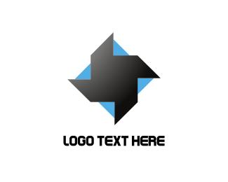Spin - Blue & Black Helix logo design