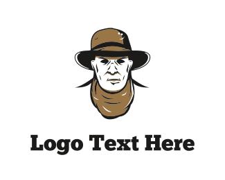 Brown - Cowboy Face logo design