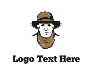 Man - Cowboy Face logo design