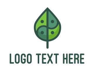 Asia Eco Balance Leaf Logo Maker
