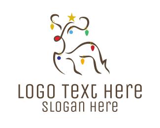 Holiday - Christmas Rudolf Reindeer logo design