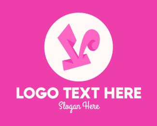 Funky - Pinky Funky Letter V logo design