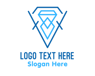 Pink Diamond - Blue Crystal Diamond logo design